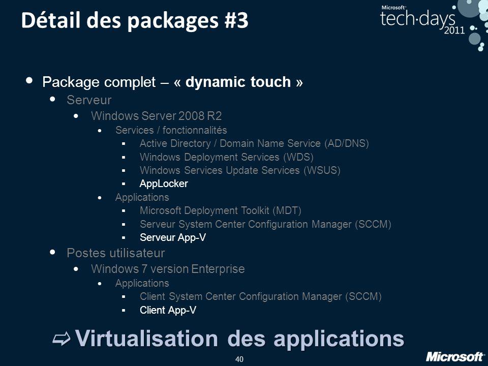 40 Détail des packages #3 Package complet – « dynamic touch » Serveur Windows Server 2008 R2 Services / fonctionnalités Active Directory / Domain Name