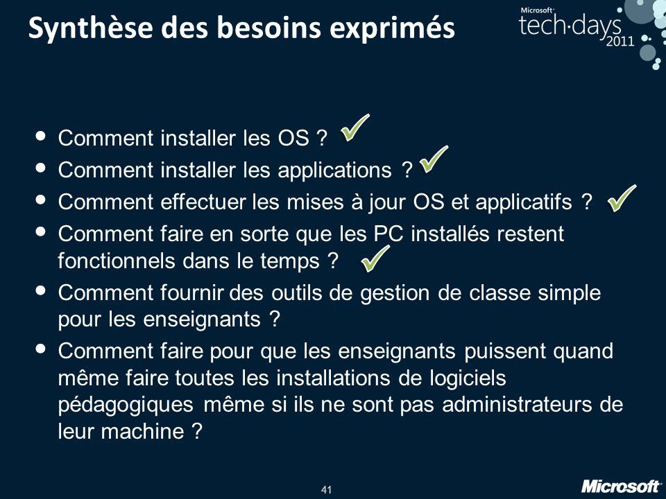 41 Synthèse des besoins exprimés Comment installer les OS ? Comment installer les applications ? Comment effectuer les mises à jour OS et applicatifs