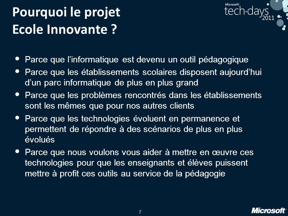 7 Pourquoi le projet Ecole Innovante ? Parce que linformatique est devenu un outil pédagogique Parce que les établissements scolaires disposent aujour