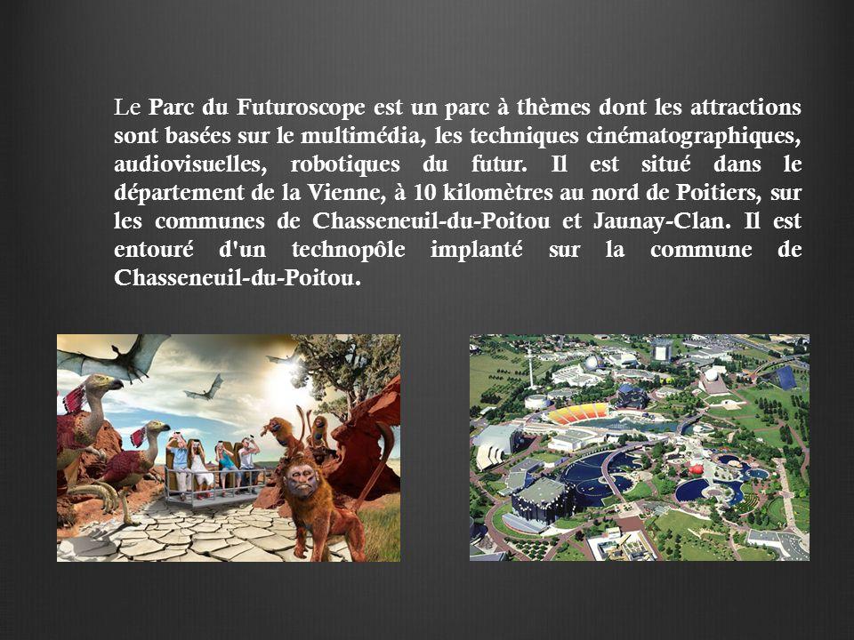 Le Parc du Futuroscope est un parc à thèmes dont les attractions sont basées sur le multimédia, les techniques cinématographiques, audiovisuelles, robotiques du futur.
