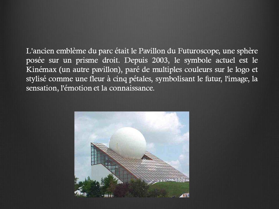 L ancien emblème du parc était le Pavillon du Futuroscope, une sphère posée sur un prisme droit.