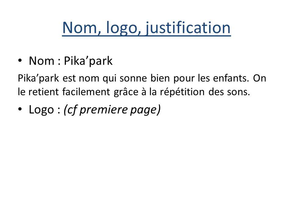 Nom, logo, justification Nom : Pikapark Pikapark est nom qui sonne bien pour les enfants.