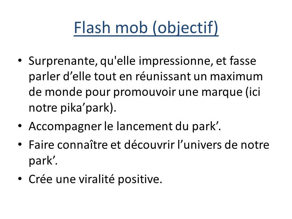 Flash mob (objectif) Surprenante, qu elle impressionne, et fasse parler delle tout en réunissant un maximum de monde pour promouvoir une marque (ici notre pikapark).