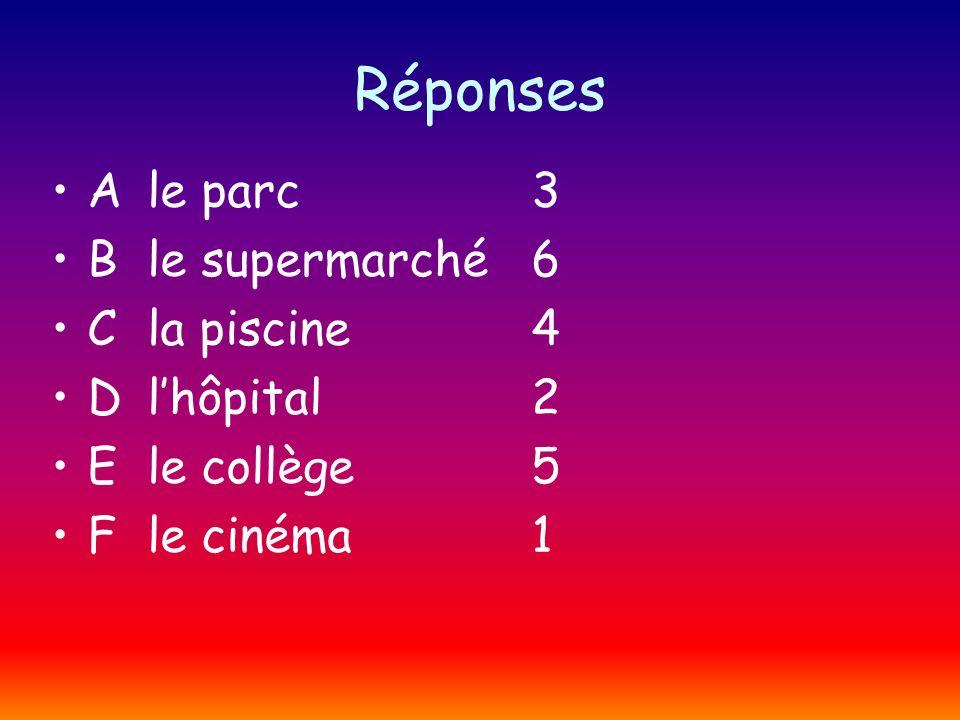 Réponses Ale parc3 Ble supermarché6 Cla piscine4 Dlhôpital2 Ele collège5 Fle cinéma1