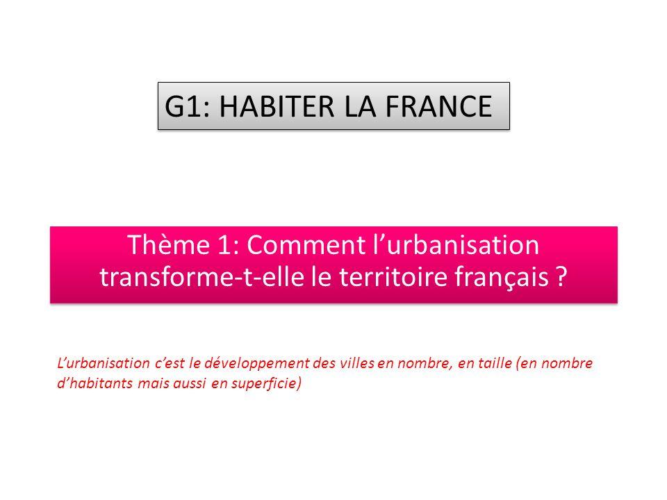 Thème 1: Comment lurbanisation transforme-t-elle le territoire français .