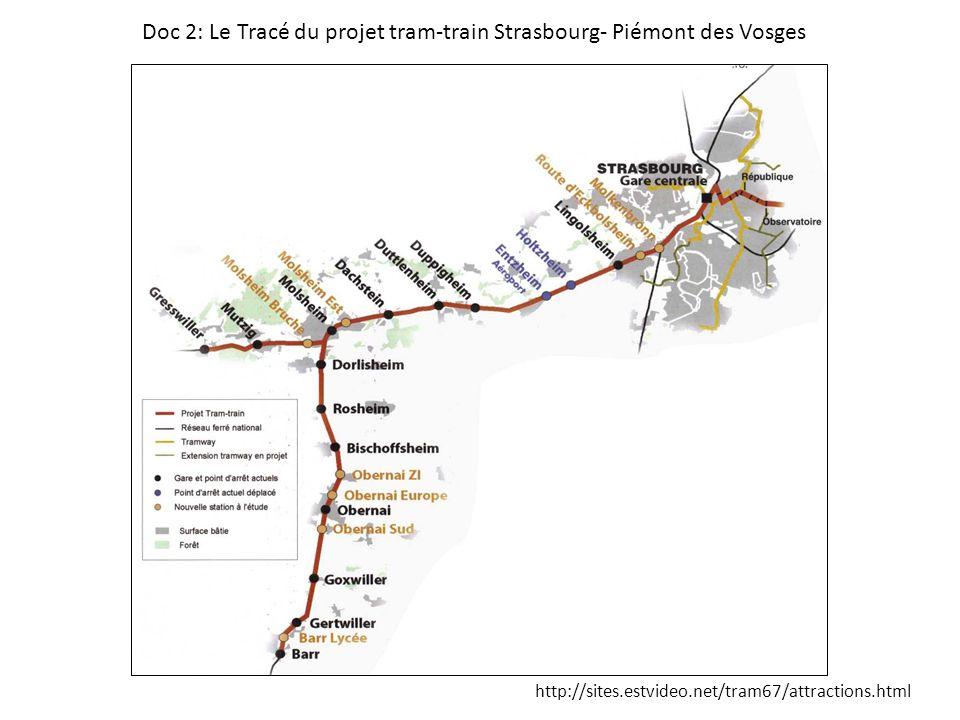 http://sites.estvideo.net/tram67/attractions.html Doc 2: Le Tracé du projet tram-train Strasbourg- Piémont des Vosges