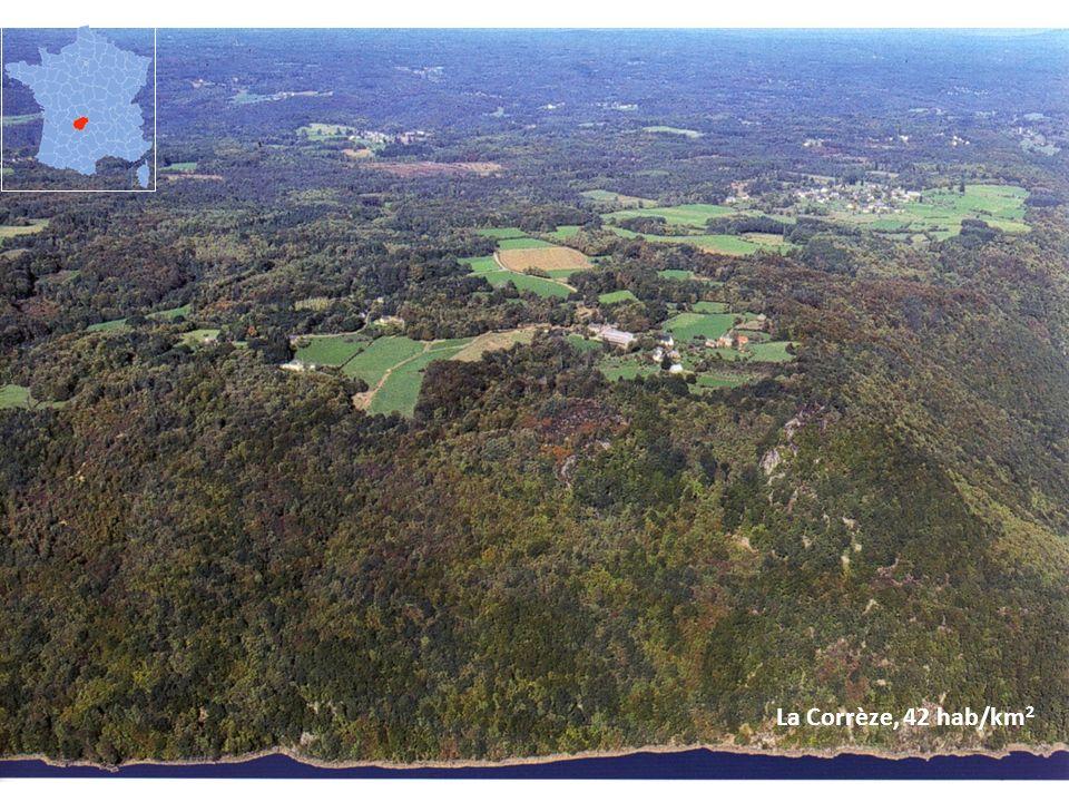 La Corrèze, 42 hab/km 2
