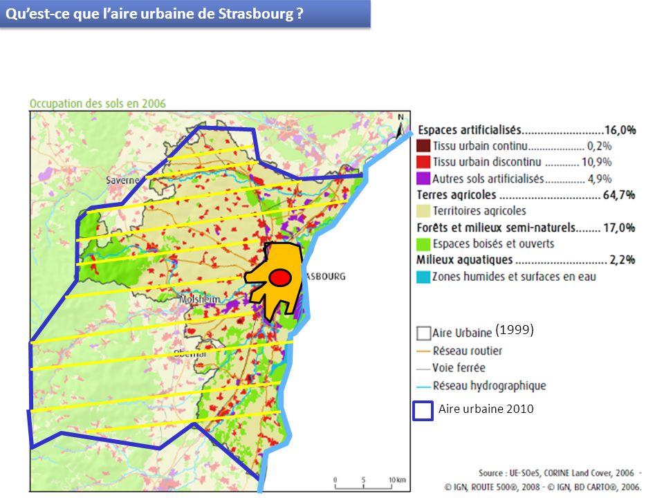 Strasbourg Ville centre Banlieue Couronne périurbaine Espaces bâtis Espaces non bâtis Le pôle urbain de Strasbourg (Strasbourg + 22 communes) plus de 450 000 hab.