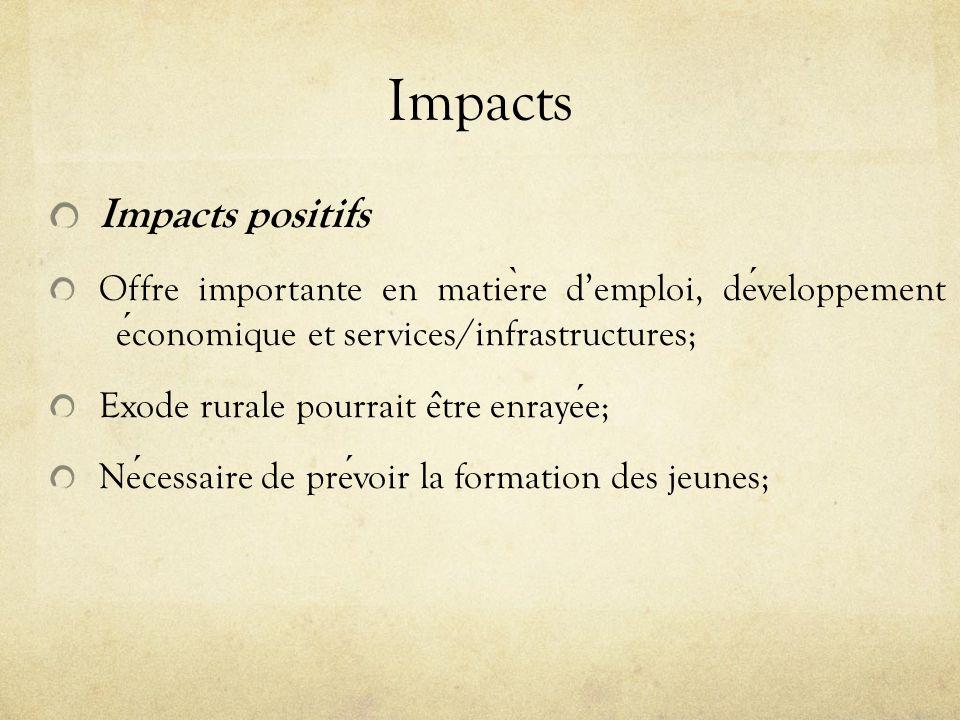 Impacts Impacts positifs Offre importante en matie ̀ re demploi, developpement economique et services/infrastructures; Exode rurale pourrait e ̂ tre e