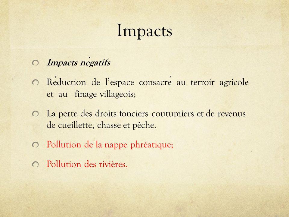 Impacts Impacts negatifs Reduction de lespace consacre au terroir agricole et au finage villageois; La perte des droits fonciers coutumiers et de reve