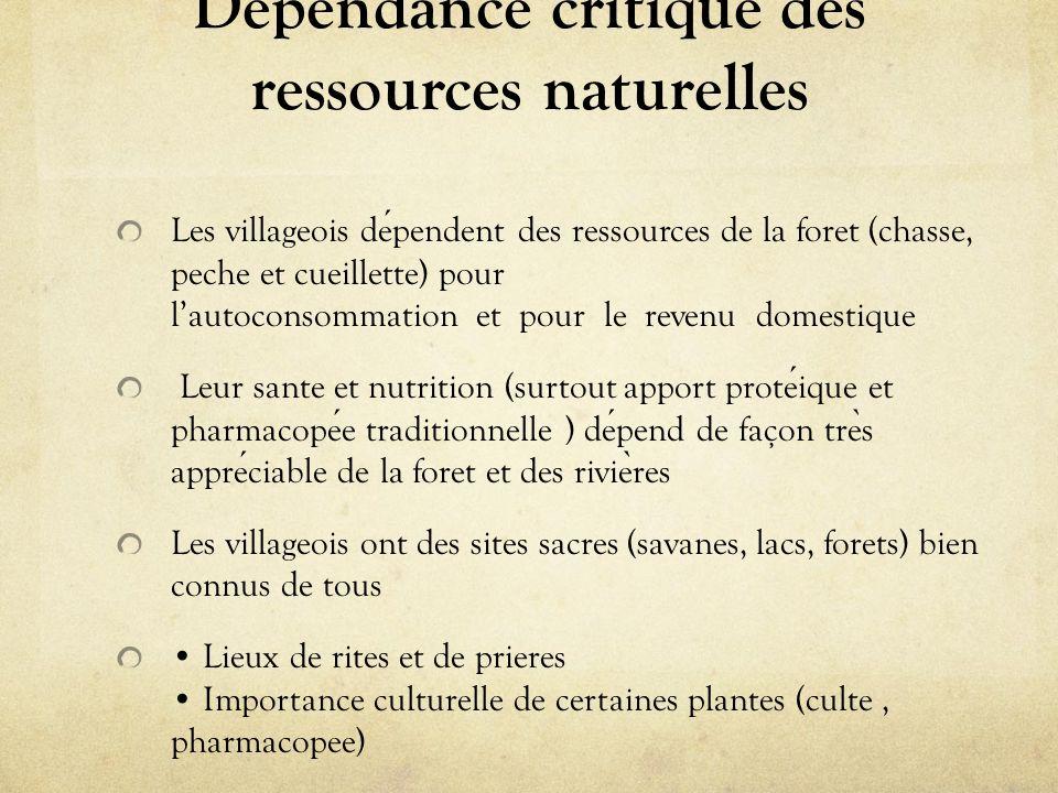 Dépendance critique des ressources naturelles Les villageois dependent des ressources de la foret (chasse, peche et cueillette) pour lautoconsommation
