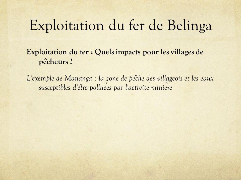Exploitation du fer de Belinga Exploitation du fer : Quels impacts pour les villages de pe ̂ cheurs ? L'exemple de Mananga : la zone de pe ̂ che des v