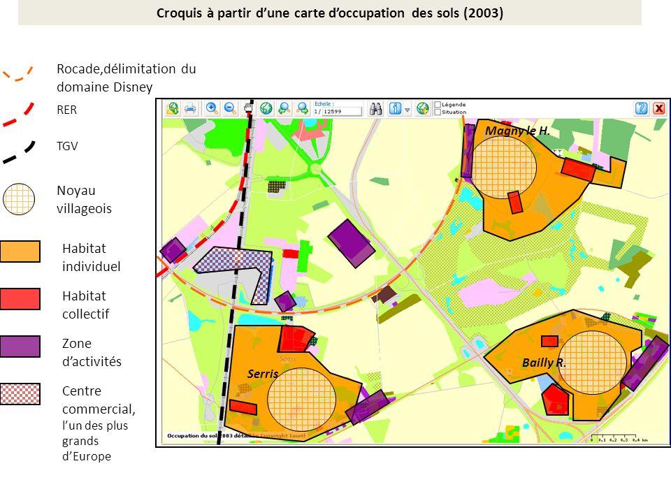 Rocade,délimitation du domaine Disney RER + gare TGV + gare Noyau villageois Habitat individuel Habitat collectif Zone dactivités Centre commercial, lun des plus grands dEurope Serris Bailly R.