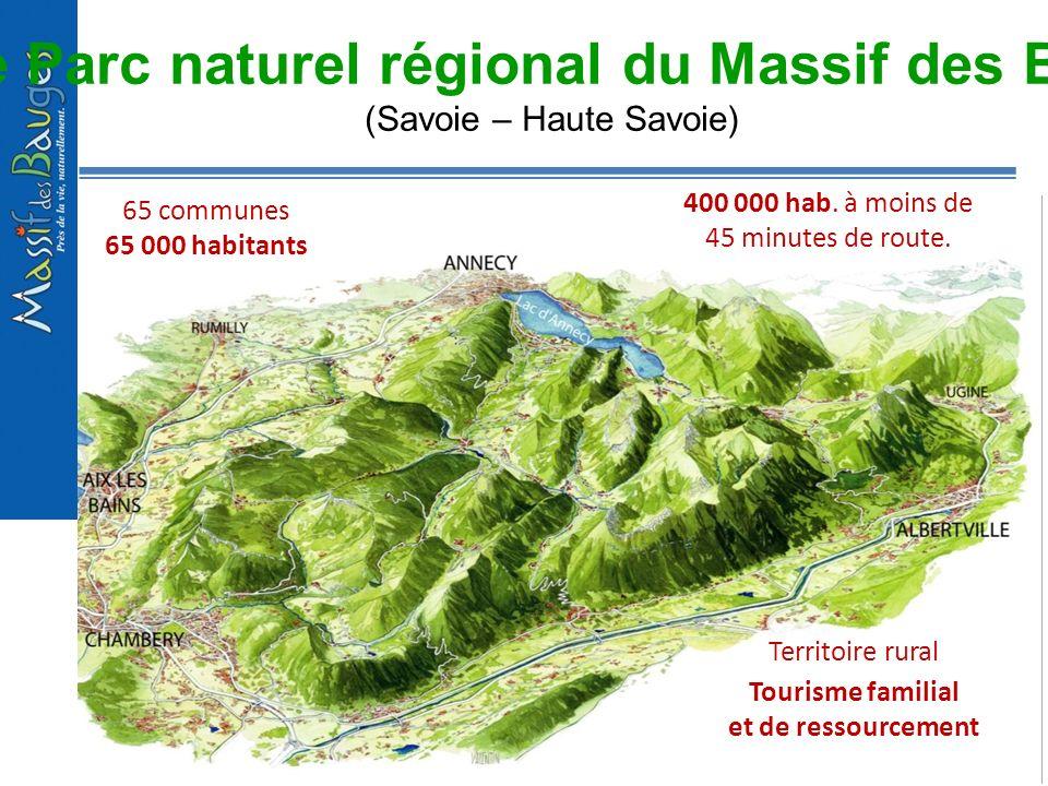 1 -Le Parc naturel régional du Massif des Bauges (Savoie – Haute Savoie) 65 communes 65 000 habitants Territoire rural Tourisme familial et de ressour