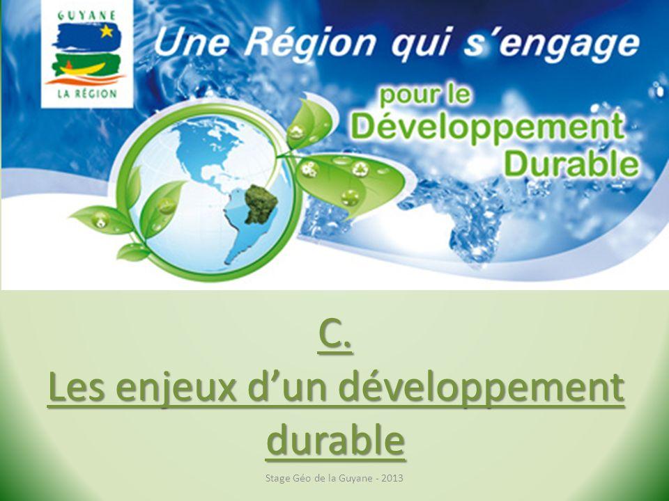C. Les enjeux dun développement durable Stage Géo de la Guyane - 2013