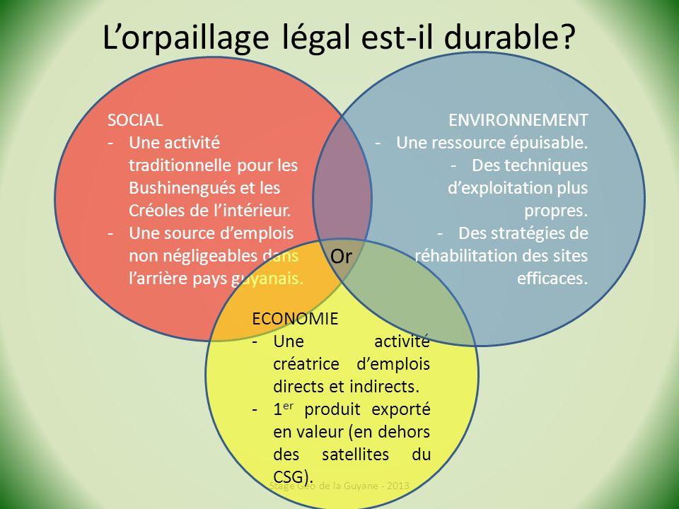 Lorpaillage légal est-il durable? Stage Géo de la Guyane - 2013 SOCIAL -Une activité traditionnelle pour les Bushinengués et les Créoles de lintérieur