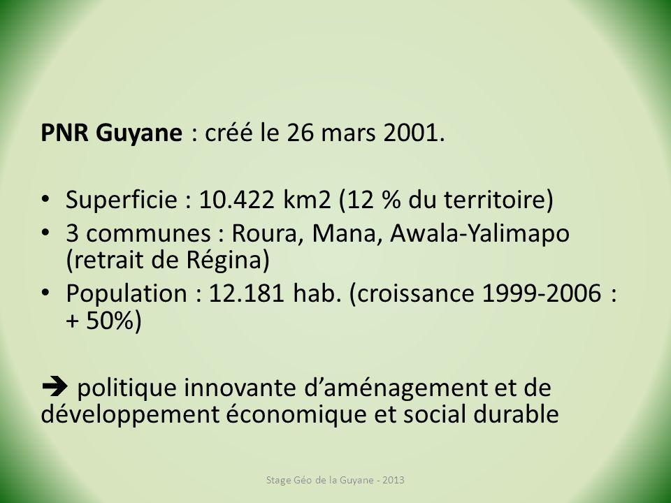 PNR Guyane : créé le 26 mars 2001. Superficie : 10.422 km2 (12 % du territoire) 3 communes : Roura, Mana, Awala-Yalimapo (retrait de Régina) Populatio