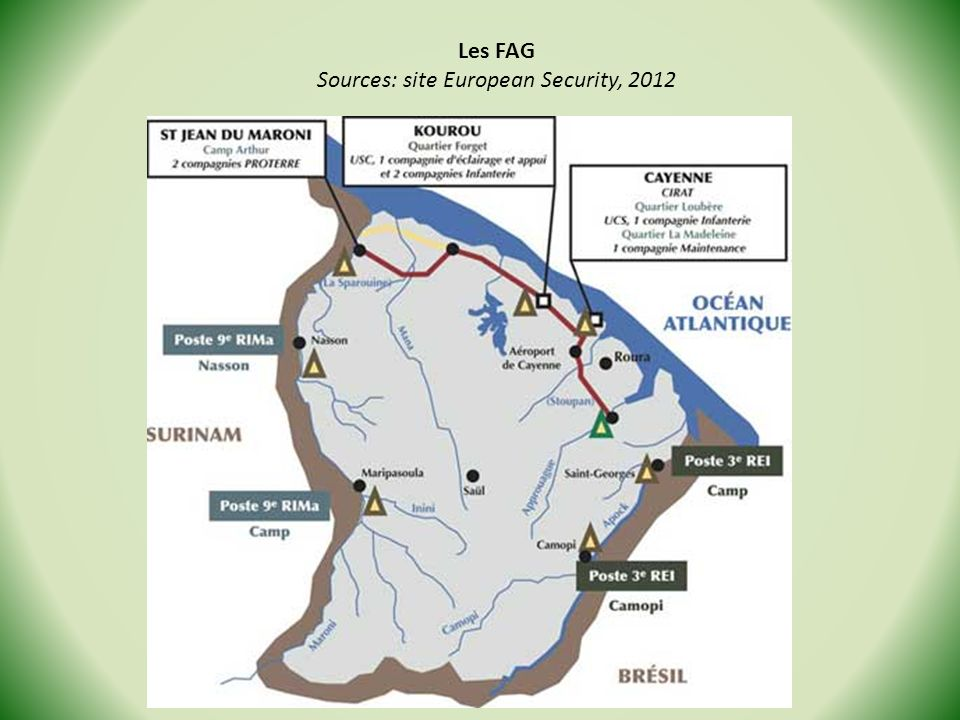 Les FAG Sources: site European Security, 2012