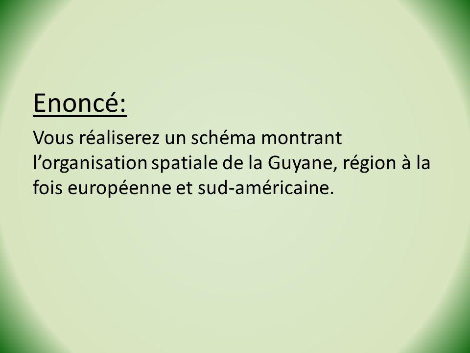 Enoncé: Vous réaliserez un schéma montrant lorganisation spatiale de la Guyane, région à la fois européenne et sud-américaine.