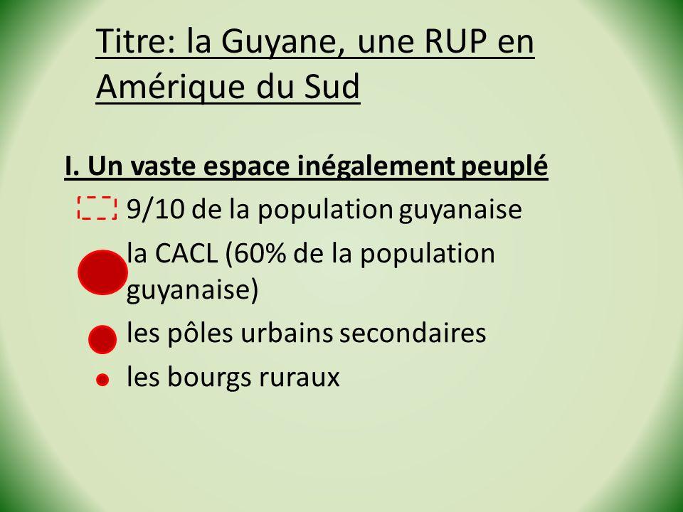 Titre: la Guyane, une RUP en Amérique du Sud I. Un vaste espace inégalement peuplé 9/10 de la population guyanaise la CACL (60% de la population guyan
