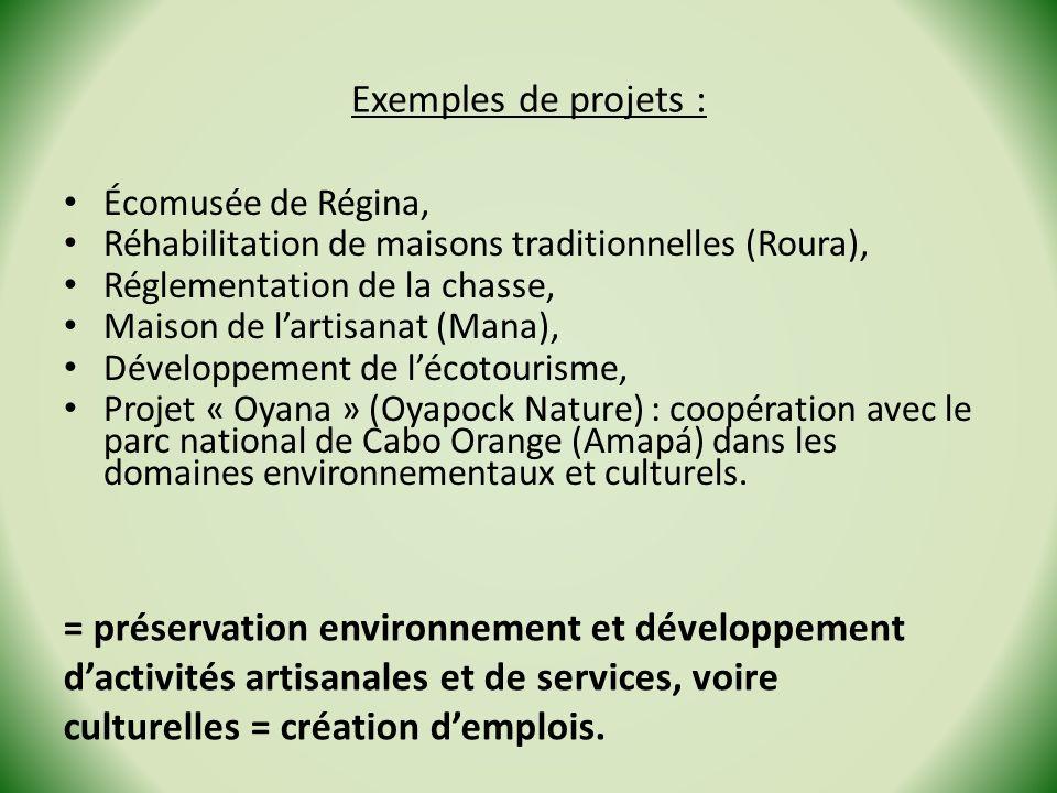 Exemples de projets : Écomusée de Régina, Réhabilitation de maisons traditionnelles (Roura), Réglementation de la chasse, Maison de lartisanat (Mana),