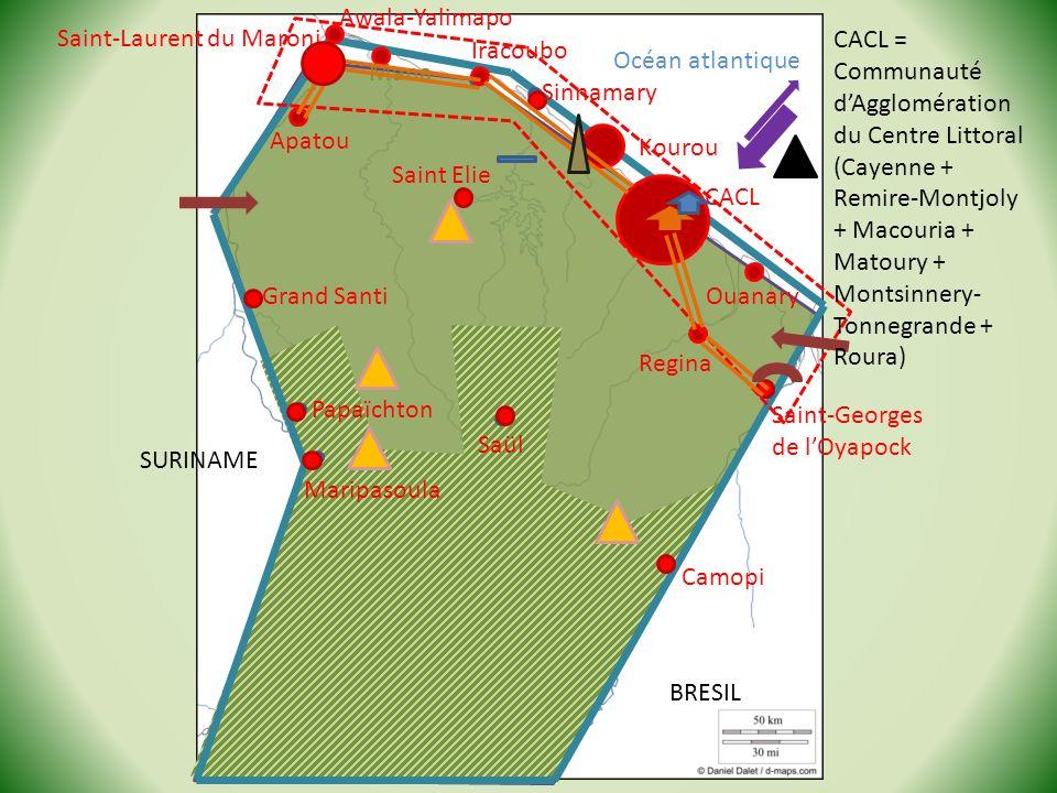 CACL Kourou Saint-Laurent du Maroni Océan atlantique SURINAME BRESIL Camopi Saint-Georges de lOyapock Saül Grand Santi Regina Saint Elie Maripasoula P