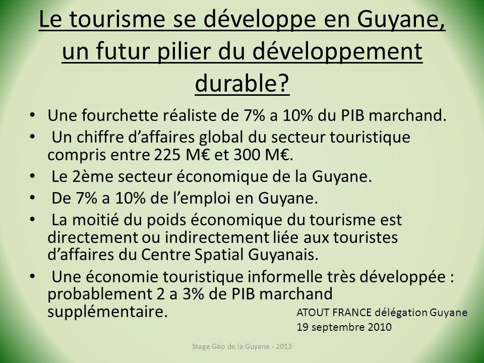 Le tourisme se développe en Guyane, un futur pilier du développement durable? Une fourchette réaliste de 7% a 10% du PIB marchand. Un chiffre daffaire