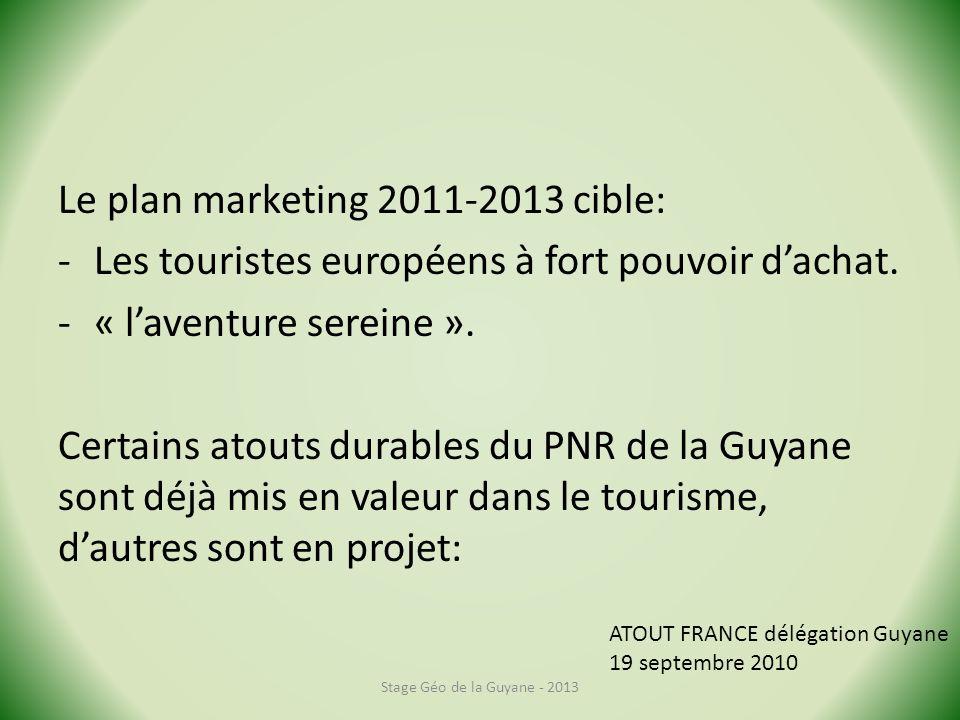 Le plan marketing 2011-2013 cible: -Les touristes européens à fort pouvoir dachat. -« laventure sereine ». Certains atouts durables du PNR de la Guyan