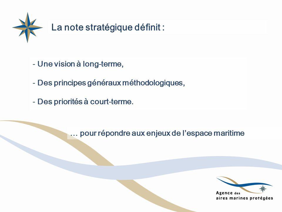 La note stratégique définit : - Une vision à long-terme, - Des principes généraux méthodologiques, - Des priorités à court-terme. … pour répondre aux