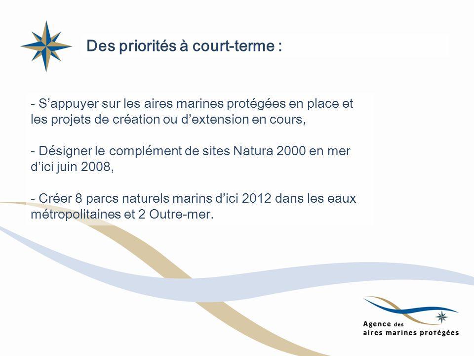 Des priorités à court-terme : - Sappuyer sur les aires marines protégées en place et les projets de création ou dextension en cours, - Désigner le com
