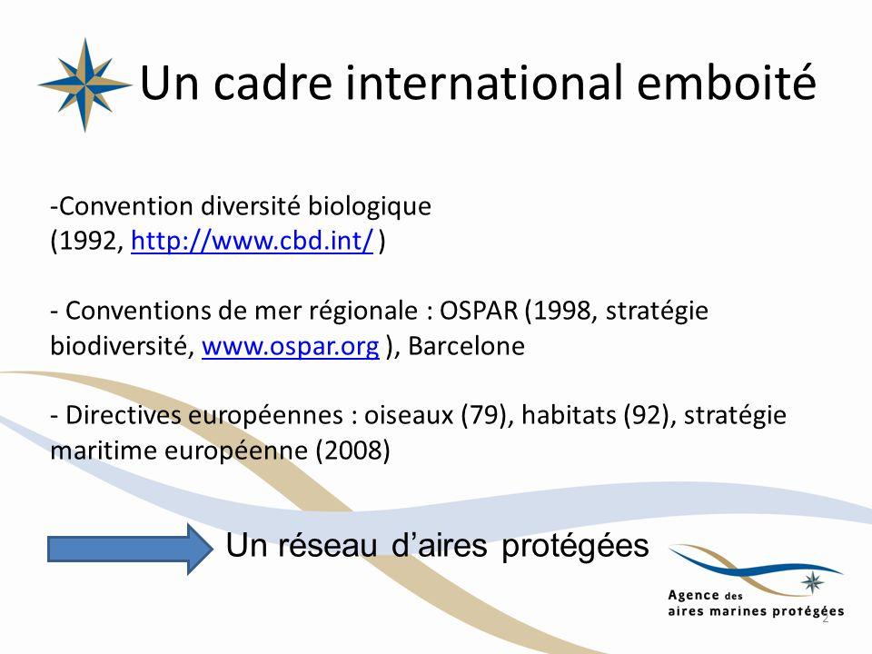 Un cadre international emboité -Convention diversité biologique (1992, http://www.cbd.int/ )http://www.cbd.int/ - Conventions de mer régionale : OSPAR