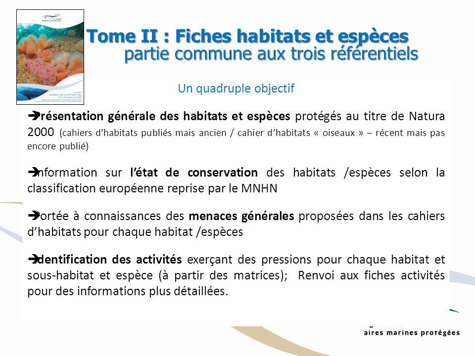 Un quadruple objectif Présentation générale des habitats et espèces protégés au titre de Natura 2000 (cahiers dhabitats publiés mais ancien / cahier d