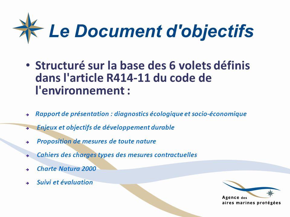 Le Document d'objectifs Structuré sur la base des 6 volets définis dans l'article R414-11 du code de l'environnement : Rapport de présentation : diagn