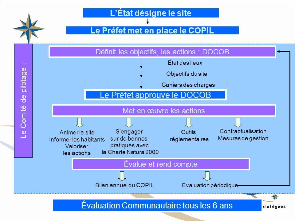 LÉtat désigne le site Le Préfet met en place le COPIL Définit les objectifs, les actions : DOCOB État des lieux Objectifs du site Cahiers des charges