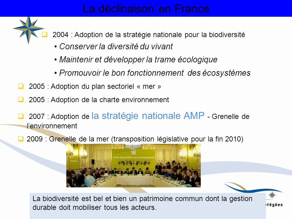 La déclinaison en France 2004 : Adoption de la stratégie nationale pour la biodiversité 2005 : Adoption du plan sectoriel « mer » 2005 : Adoption de l