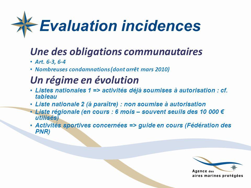Evaluation incidences Une des obligations communautaires Art. 6-3, 6-4 Nombreuses condamnations (dont arrêt mars 2010) Un régime en évolution Listes n