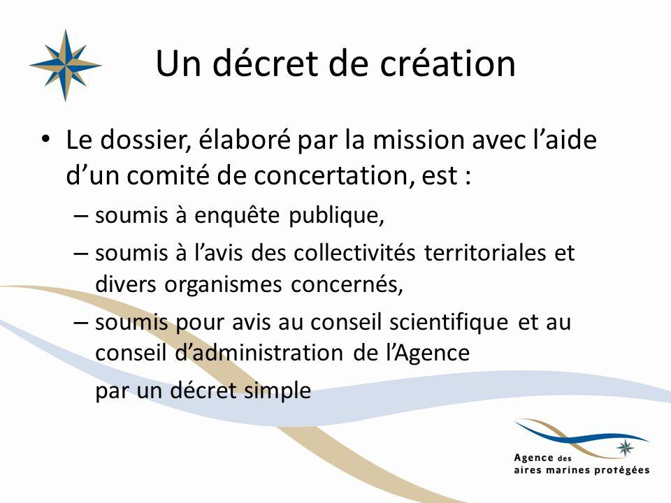 Un décret de création Le dossier, élaboré par la mission avec laide dun comité de concertation, est : – soumis à enquête publique, – soumis à lavis de