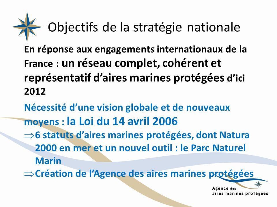 Objectifs de la stratégie nationale En réponse aux engagements internationaux de la France : un réseau complet, cohérent et représentatif daires marin
