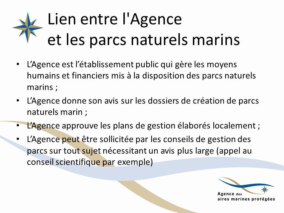 Lien entre l'Agence et les parcs naturels marins LAgence est létablissement public qui gère les moyens humains et financiers mis à la disposition des