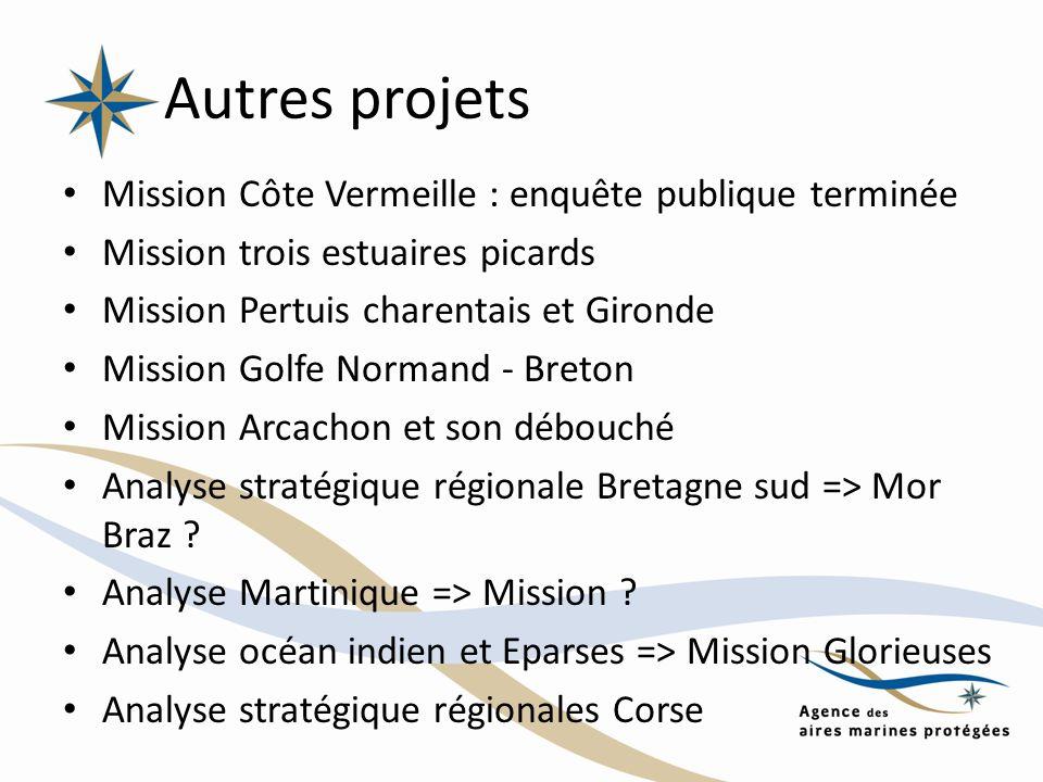 Autres projets Mission Côte Vermeille : enquête publique terminée Mission trois estuaires picards Mission Pertuis charentais et Gironde Mission Golfe