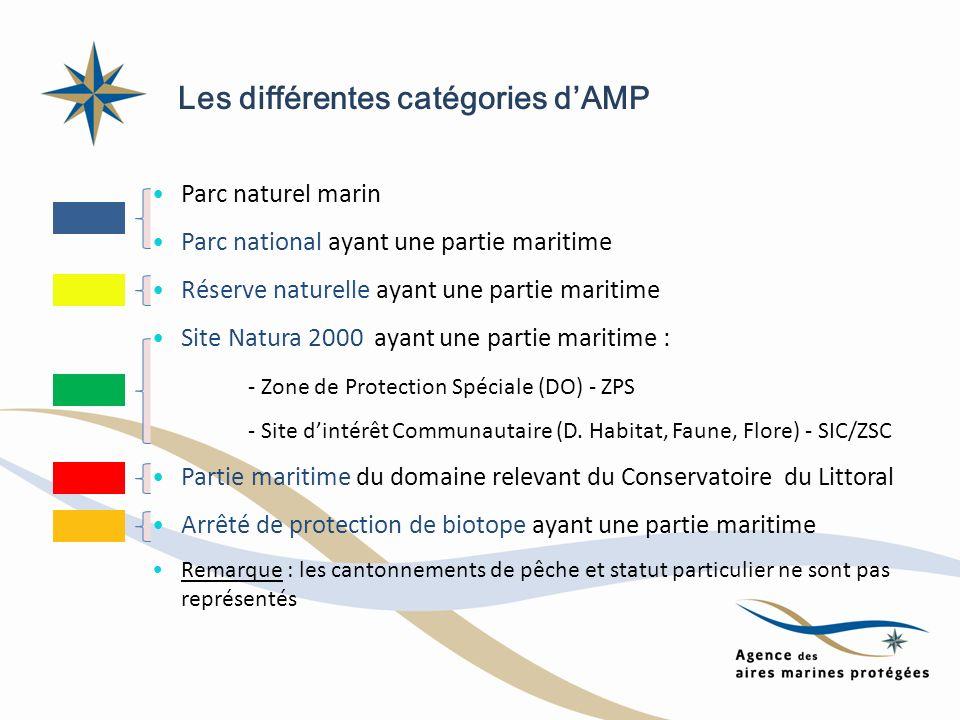 Les différentes catégories dAMP Parc naturel marin Parc national ayant une partie maritime Réserve naturelle ayant une partie maritime Site Natura 200