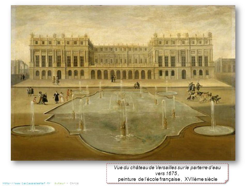 Vue du château de Versailles sur le parterre deau vers 1675, peinture de lécole française, XVIIème siècle Vue du château de Versailles sur le parterre