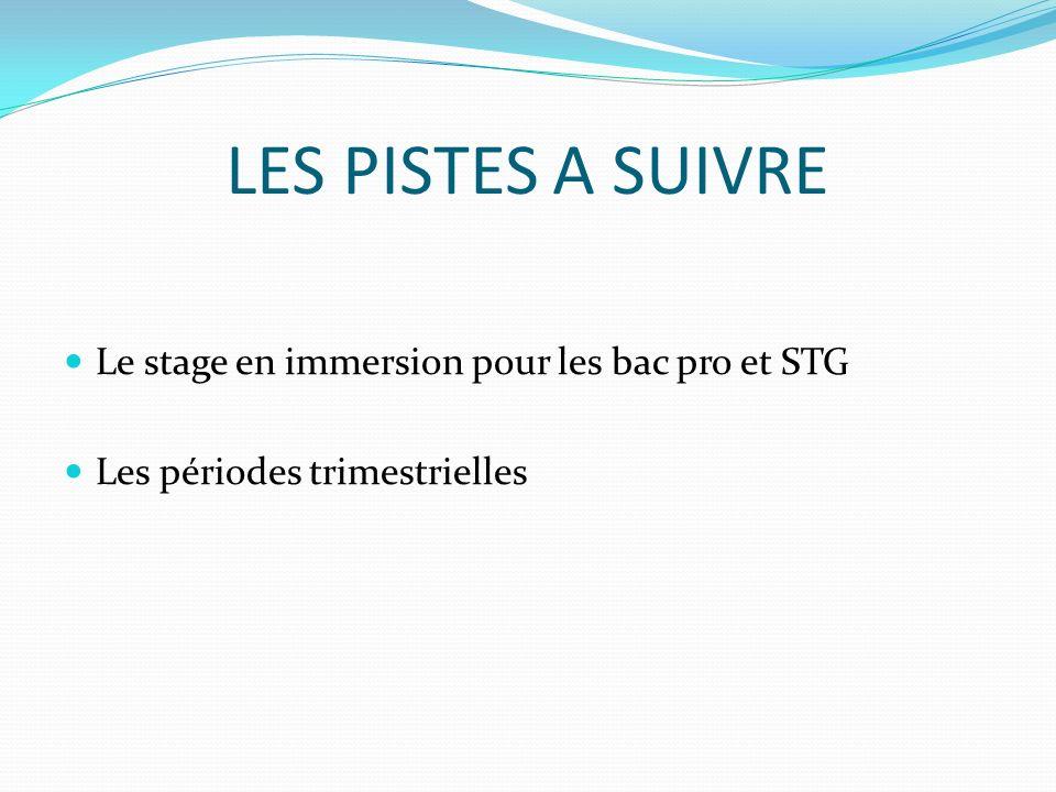 LES PISTES A SUIVRE Le stage en immersion pour les bac pro et STG Les périodes trimestrielles