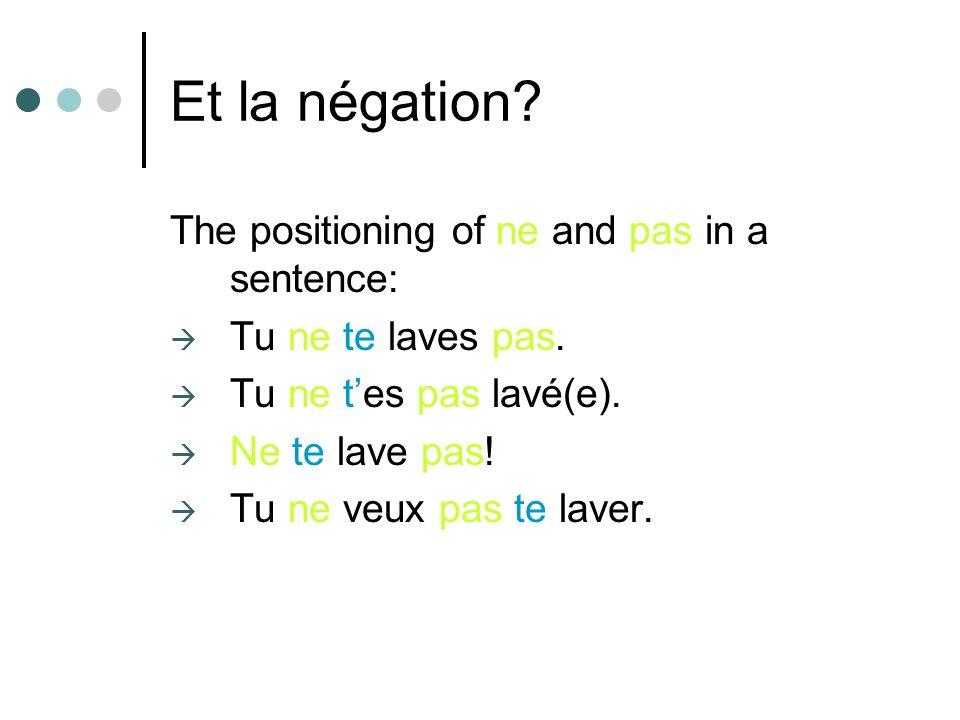 Et la négation.The positioning of ne and pas in a sentence: Tu ne te laves pas.