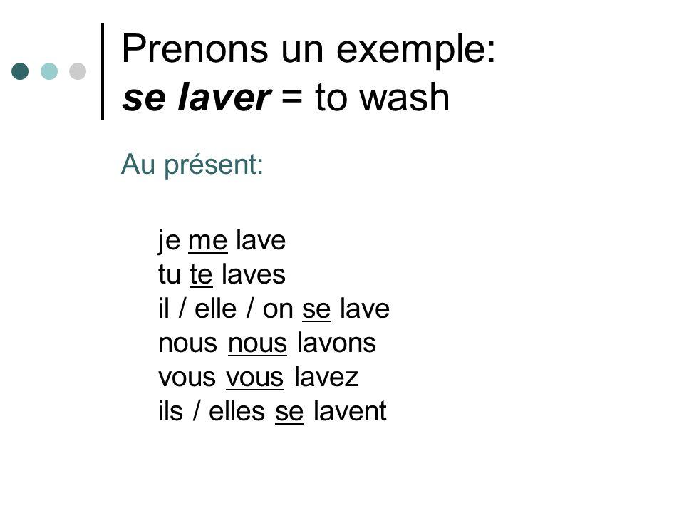 Prenons un exemple: se laver = to wash Au présent: je me lave tu te laves il / elle / on se lave nous nous lavons vous vous lavez ils / elles se lavent
