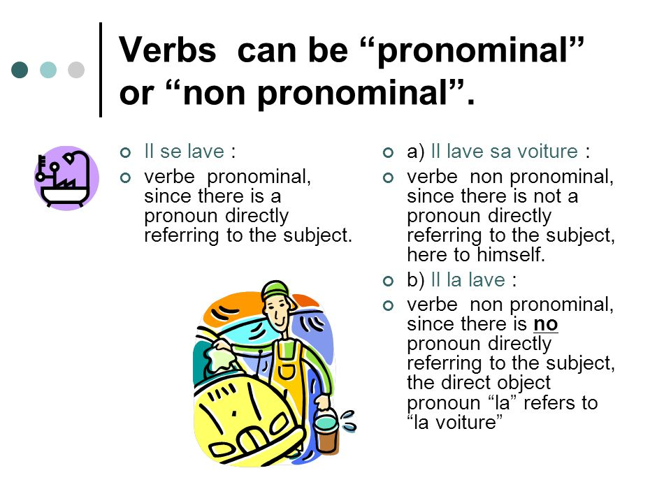 Verbs can be pronominal or non pronominal. Il se lave : verbe pronominal, since there is a pronoun directly referring to the subject. a) Il lave sa vo