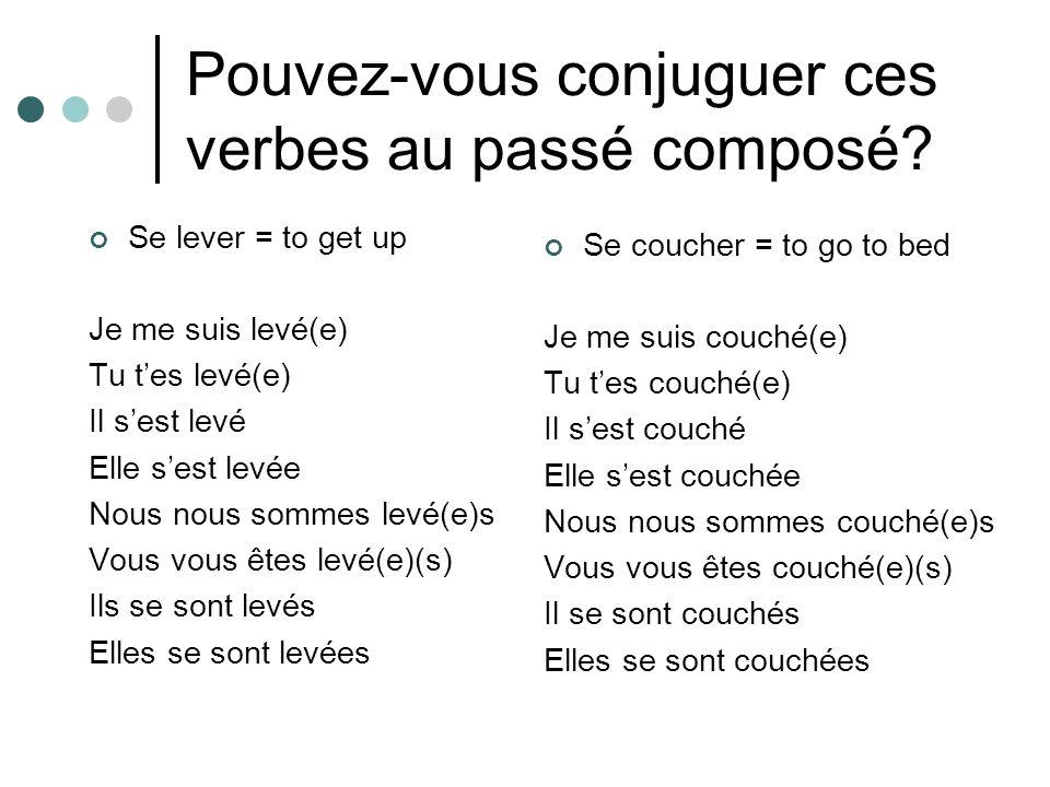 Pouvez-vous conjuguer ces verbes au passé composé.