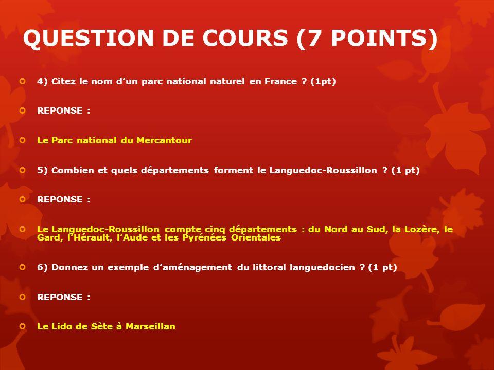 QUESTION DE COURS (7 POINTS) 4) Citez le nom dun parc national naturel en France ? (1pt) REPONSE : Le Parc national du Mercantour 5) Combien et quels