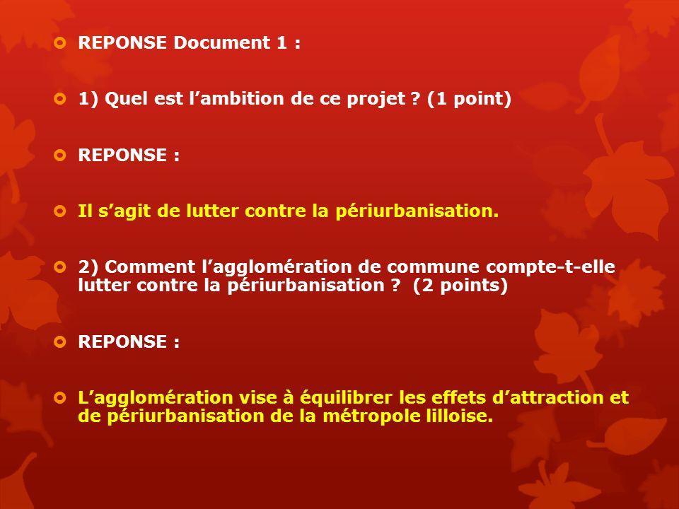 REPONSE Document 1 : 1) Quel est lambition de ce projet ? (1 point) REPONSE : Il sagit de lutter contre la périurbanisation. 2) Comment lagglomération