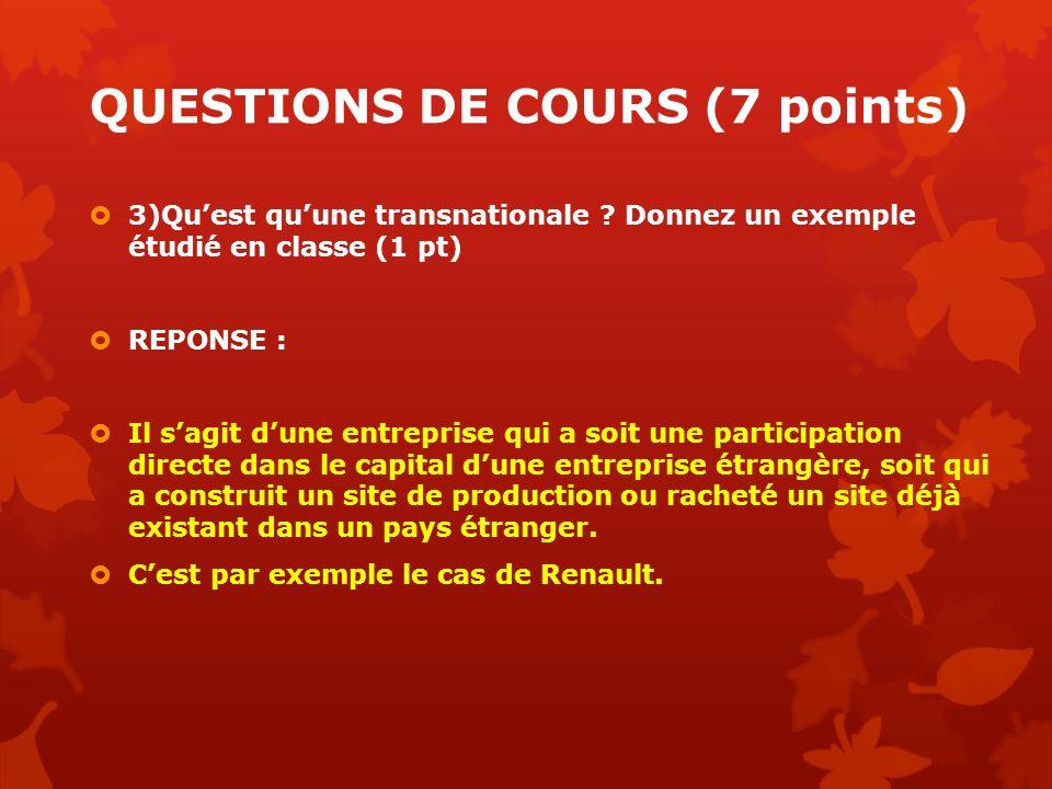QUESTIONS DE COURS (7 points) 3)Quest quune transnationale ? Donnez un exemple étudié en classe (1 pt) REPONSE : Il sagit dune entreprise qui a soit u